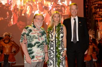 Neil Abercrombie, Governor of Hawaii, Princess Marie-Chantal of Greece and Philippe Schaus, Chairman and CEO of DFS Group, at the unveiling of T Galleria in Hawaii