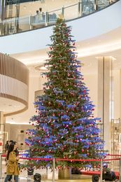 The DFS Christmas tree adorned with Macau specific ornaments at the Shoe Hall, T Galleria by DFS, City of Dreams, Macau