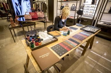The personalization station set up by Burberry