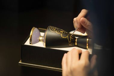 Bulgari's fragrance bottles being personalized