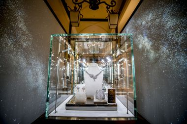 The Nostalgia Tunnel featuring showcases of spectacular jewelry