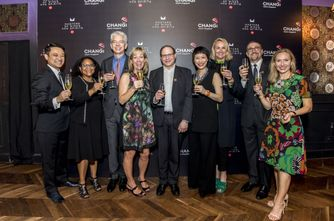 DFS management toast to the sixth annual Masters of Wines and Spirits