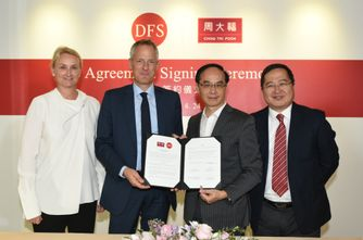 From left to right: Ms. Sibylle Scherer, President Merchandising and Consumer Marketing, DFS Group; Mr. Philippe Schaus, Chairman and CEO, DFS Group; Mr. Kent Wong, Managing Director, Chow Tai Fook; Mr. Peter Suen, Executive Director, Chow Tai Fook