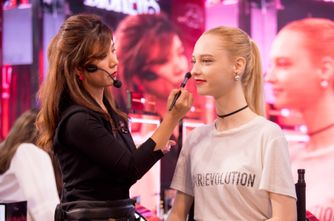 A dedicated make up artist demonstrates one of the four exclusive Dior looks on a model using Dior Rouge products