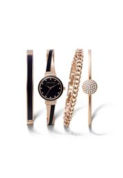 Anne Klein II Rose Goldtone & Navy Watch and Bracelet Box Set