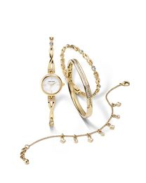 Anne Klein II Swarovski Crystal and Goldtone Watch and Bracelet Box Set with Mother of Pearl Dial