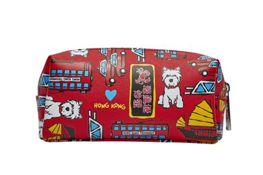 Marc Tetro Hong Kong Dog Red Pattern Small Cosmetic Bag