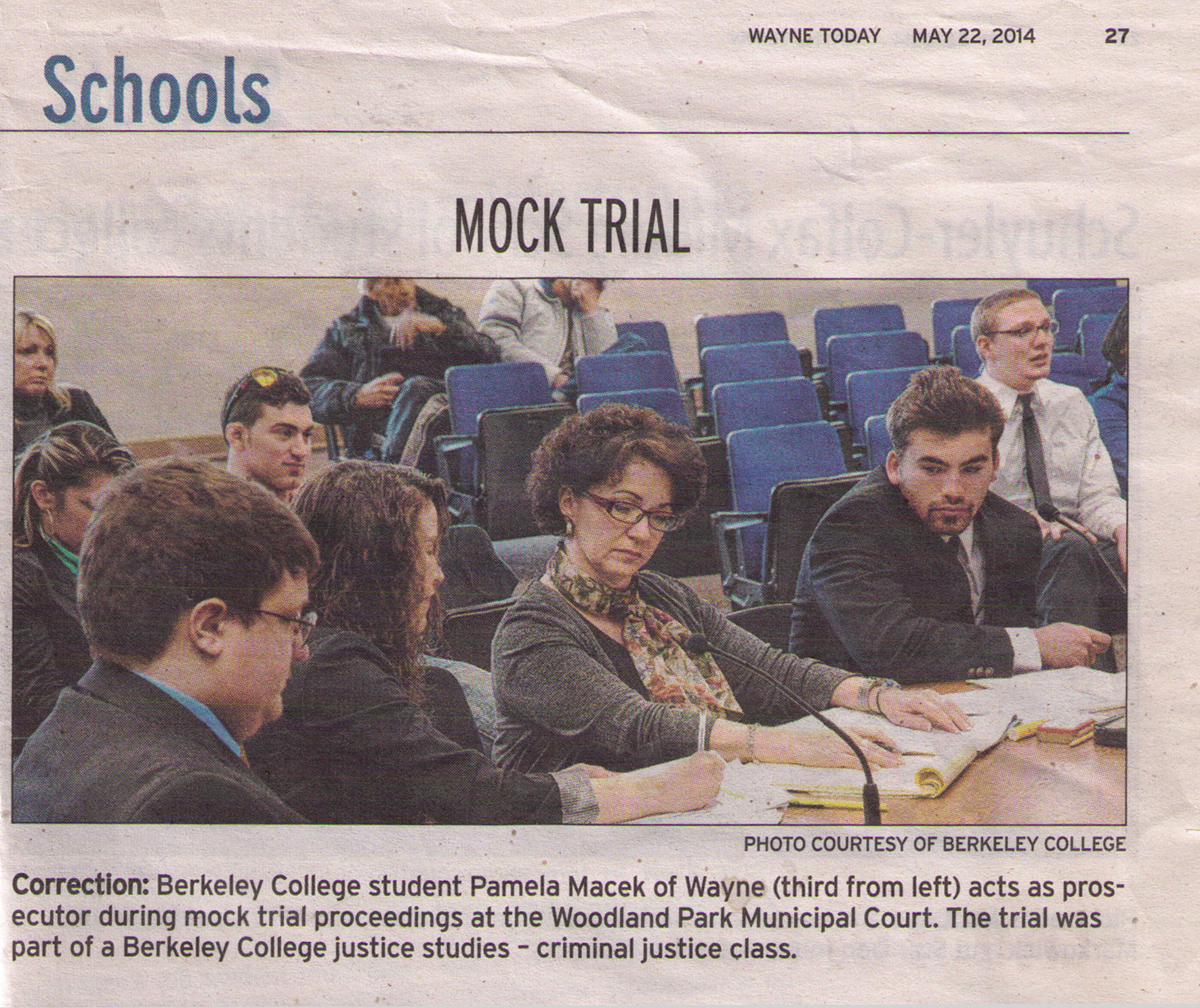 Pamela Macek of Wayne acts as prosecutor during a Berkeley College mock trial