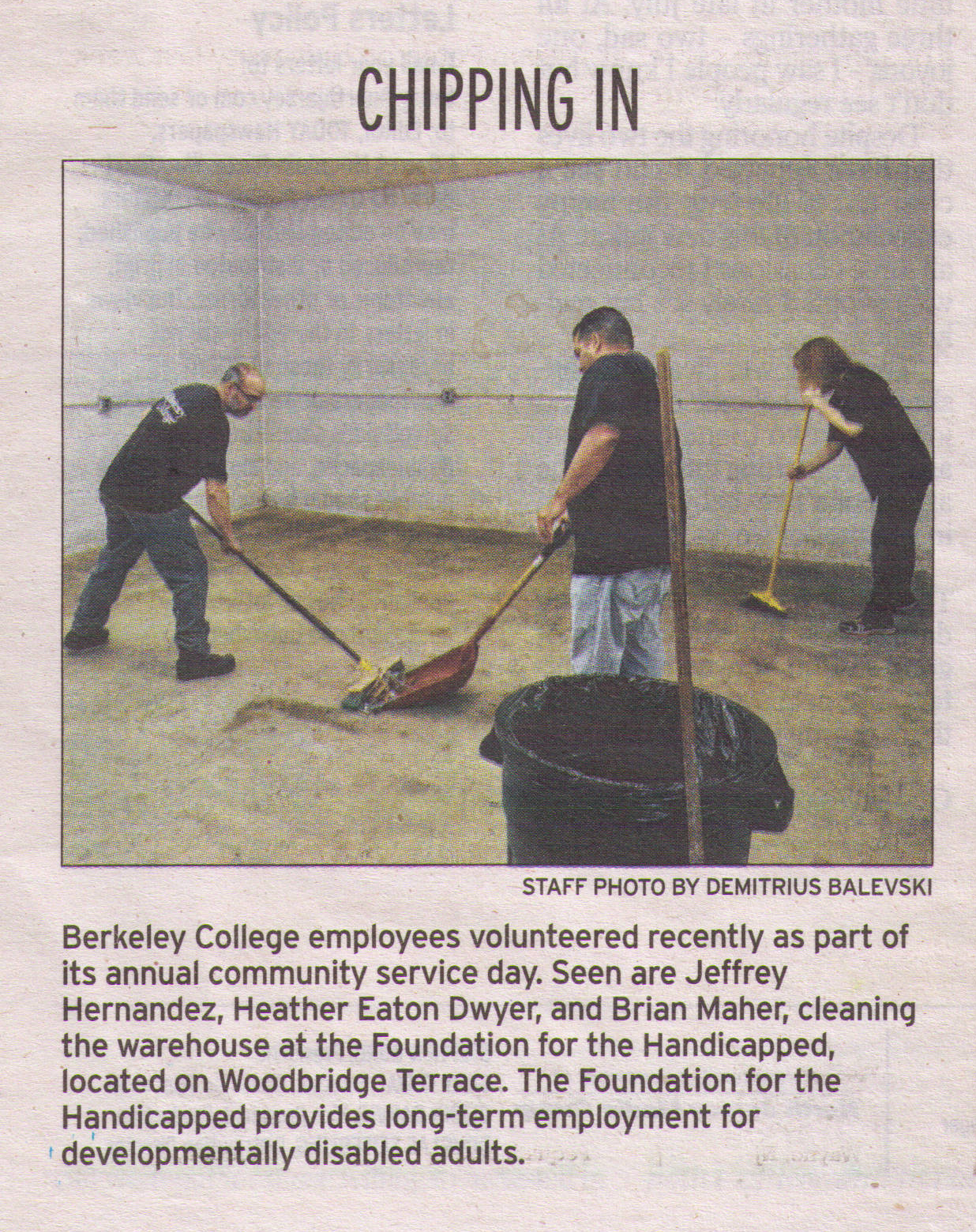 Berkeley College employees volunteer in Wayne during Community Service Day