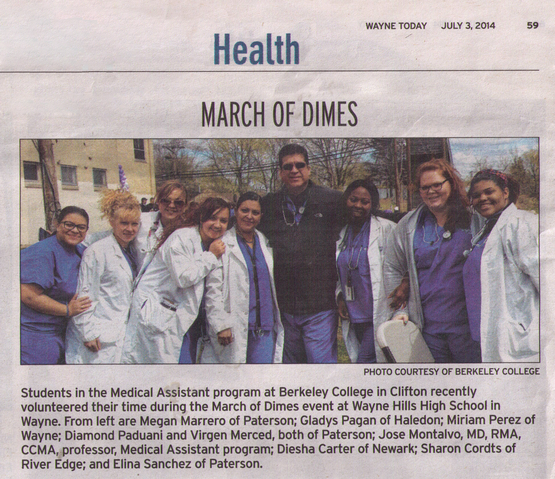 Medical Assistant students from Berkeley College in Clifton at the March of Dimes event at Wayne Hills High School